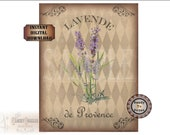 French Lavender Printable Digital JPG ~ Old World Style Shabby French ~ Lavende de Provence ~ Aged Paper Fabric Texture Harlequin Background