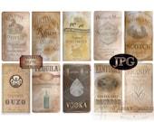 10 Bottle Labels ~ Vintage Style International Printable Prohibition Speakeasy Roaring 20s Distilled Spirits ~ Whisky, Gin, Brandy, Bourbon