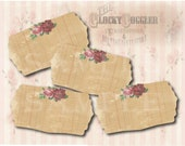 Rose Ledger Apothecary Jar Labels JPG File ~ 6 Aged Victorian Floral Scrap, Herb, Spice, Liquor, Medicine Bottle Tags ~ 2 1/2 X 4 3/4 Inches