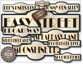 Prohibition Street Signs Printable Set of 10 Life Sized Road Signs Gatsby Speakeasy Roaring 20s Wedding Party Prom Decor Gold Black Art Deco