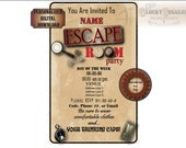 ESCAPE ROOM INVITATION Personalized Party Digital Download File ~ Custom Invite ~ Magnifying Glass, Fingerprint, Date, Time, rsvp, Clocks