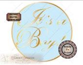 "It's a Boy! Cake Topper Sign Printable ~ 7.75"" Round Elegant Simplistic Blue Gold Baby Shower Gender Reveal Party Digital Download JPG File"