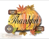"Pumpkin ""Thankful"" Sublimation & Cutting ~ 6X6 Files ~ svg, pdf, png, eps, dxf Craft Transfer Image Fall Thanksgiving Autumn Printable Decor"
