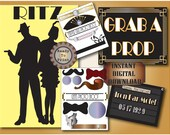 Photo Booth Package Printable Roaring 20s Prohibition Era Art Deco Gatsby Party Iron Bar Motel Photo Booth Props and Backdrop Wedding Files