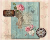 "Victorian Junk Journal Sheet Printable JPG ~ Victorian Scrap Roses, French Postage & Hen, ""Day"" Goddess ~ Shabby Aqua Barn Wood Background"