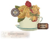 "Yellow Rose Teacup Bouquet SVG Vector Clip Art ~Jpg, Png, Eps, Dxf ~ 6X6"" Victorian Scrap ~ Cutting Machines, T-shirt, Craft, Small Business"