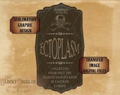 ECTOPLASM Bottle Label Sublimation Fabric Transfer Image Cutting 5 Files svg, pdf, png, eps, dxf Halloween Victorian Goth Apothecary Jar Tag