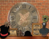 Steampunk Clock Kit Printable ~ Weathered Metal Palm Reading Hands ~ 8 Inch Round ~ Roman Numerals, Victorian Vintage Style Aged Wall Art