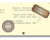 People Book Quote Printable Note Card ~ Junk Journal Embellishment ~ Mary Lennox The Secret Garden Digital JPG Book Quote