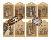 Stereoscope Tags Printable Junk Journal Embellishments ~ JPG ~ 8 Vintage Tinted Black White Vintage Photograph Stereoscopic 1800s Images