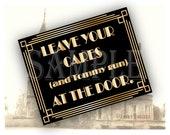 Tommy Gun Door Sign Gold Black Roaring 20s Printable JPG ~ Prohibition Era Art Deco Gatsby Inspired Wedding, Party, Bar, Front Door Note