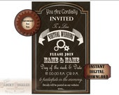 "VIRTUAL WEDDING Invitation Digital Download JPG File ~ Steampunk Gears Black Gold White Open Face 5.5X8.25"" Invite ~ Print/Email to Guests"
