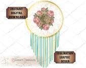 Rosy Dreamcatcher Sublimation Transfer Image Cutting 5 Files svg, pdf, png, eps, dxf Turquoise Boho Printable Victorian Wedding Shower Party