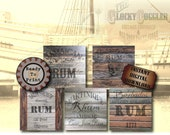 "5 Pirate Rum Crate Labels Printable PDFs ~ 12X12"" Wood Images ~ Prohibition, Caribbean Sailor Strength, Jamaican, Barbados, Martinique Props"