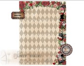 "Alice Mad Hatter Backdrop Printable 48x60"" File ~ Steampunk Alice's Adventures in Wonderland Photo Booth ~ Red Rose, Tea, Hat, Cat, Drink Me"