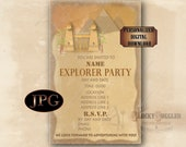 Custom Explorer Party Invitation Printable ~ Egyptian Pyramid Temple Aged Open Face 5.25X8.25 JPG Adventure Treasure Hunter Around the World
