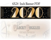 "2020 Star & Gold Printable Sign ~ PDF File ~ New Year's Eve Party Decor ~ Art Deco Sparkly Black Gatsby Style 6X24"" Banner Instant Download"