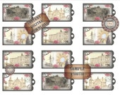 Pink Rose Printable Hang Tag ~ Junk Journal Embellishments ~ 12 Victorian Steampunk Gift Tags ~ Roses, Historical Buildings, Horse, Wagon