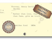 Truth Author Quote Printable Junk Journal Embellishment ~ Library Card Catalog Vintage Ephemera Aged Scrapbook ~ Henry David Thoreau Quote