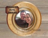 """Steamship PORTHOLE PICTURE FRAME Printable Personalized jpg file ~ Murder Mystery Escape Room Party ~ Brass and Glass Look 8"""" Ship Window"""
