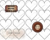 Blank Template HEARTS ~ Sheet of 16 ~ 5 Files ~ 2 png, pdf, svg, jpg ~ DIY Clip Art for Junk Journal, Scrapbook, Valentine ~ License Free