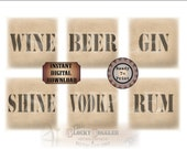 "Bootlegger Crate Labels 8X8"" ~ Set of 6 Printable Files ~ Prohibition Roaring 20s ~ Saloon Cantina Tavern ~ Wine Beer Gin Shine Vodka Rum"