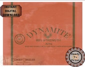 "Dynamite Gag Gift Label Printable ~ EXPLORER PARTY Decor JPG ~ Aged Archeology Treasure Hunter Dig Style Sheet  ""60% Strength"" ""Keep Dry"""