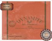 "Dynamite Gag Gift Label Printable ~ EXPLORER PARTY Decor JPG ~ Aged Archeology Treasure Hunter Dig Style Sheet  ""60% Strength"" ""Keep Dry"""