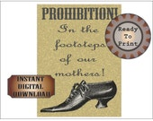 Women's Temperance Movement Sign Printable ~ Aged Teetotaller Prohibition Rally ~ In the Footsteps of our Mothers Wedding Party Decoration