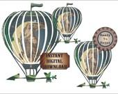 Celestial Airship Dirigible Printable Junk Journal Embellishment ~ Steampunk Art Nouveau Goddess Flying Balloon Large Clip Art Digital Set