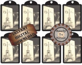 """Paris Chalkboard Hang Tags Printable Junk ~ Black White Gift or Price Tags, Jewelry Cards ~ 8.5X11"""" Digital JPG ~ Eiffel Tower Antique Phone"""