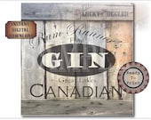 "One Crate Label CANADIAN GIN ~ 18x18"" pdf ~ Weathered Pirate Bootlegger Prohibition Speakeasy Old West Roaring 20s Shipping Box Decoration"
