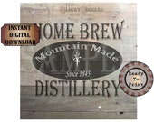 "HOME BREW DISTILLERY Crate Label 12x12"" pdf ~ 1 Weathered Pirate Bootlegger Prohibition Speakeasy Old West Roaring 20s Shipping Box Decor"