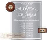Custom ICE CREAM Sign Printable Your Flavors Personalized Silver White Traditional Wedding Event Party Decor ~ JPG File ~ 8X10 Food Bar Art
