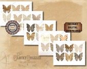 30 Butterfly Clip Art Images ~ 5 Printable JPG Sheets ~ Junk Journal Smash Book Scrapbook Embellishments ~ Ledgers Aged Lined Paper Ephemera