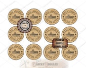 Steamship CUPCAKE TOPPERS Murder Mystery, Escape Room Wedding Party Props Printable JPG Oceanliner Star Cruise Line Logo~ 12 Aged Paper Tops