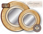 Steamship PORTHOLE 2 File Printable Set ~ Murder Mystery Escape Room Party I JPG 1 PDF ~ Brass and Glass Look 12 Inch & 8 Inch Ship Windows