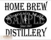 "Crate Label Bootlegger Label Set svg pdf png eps dxf 1845 Home Brew Distillery Mountain Made 14X20"" Cutting Machine Text Sublimation Image"