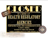 CLOSED by order of HEALTH AGENCIES Roaring 20s Sign Printable ~ Gold Black Food Service Restaurant Front Door  ~ Social Distancing Open Air