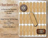 "25 Test Tube Labels Printable JPG & PNG File ~ Victorian Asylum Halloween Apothecary Medicine, Spice  1 X 3.5"" Tags~ Aged Paper Junk Journal"