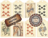 Medieval Playing Cards Tags Printable Junk Journal Embelishments ~ Queen of Hearts Gift Hang Tags Scrapbook Party Favors ~ Spades Clubs