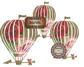 Rose Airship Dirigible Printable Junk Journal Embellishments ~ Steampunk Victorian Red Pink Rose Scrap Hot Air Balloon Digital Download Art
