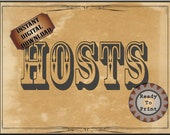 HOSTS Sign Printable JPG Wild West Party Aged Paper Western Decor ~ Wedding Event ~ Film TV Premiere Party Decoration Wall Art Old West Art