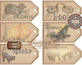 Halloween Hang Tag Printable Jpg ~ Spooky Victorian Goth Junk Journal Rat, Watercolor Pumpkin, Black Cat, THE RAVEN NEVERMORE, Cemetery, Boo