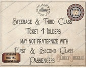 "Steamship ""Passenger Fraternize"" Wedding, Murder Mystery, Escape Room Party Sign Printable JPG Oceanliner Cruise Ship First Class & Steerage"