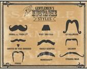 Mustache Styles Printable 11x14 Old West Barber Shop Steampunk Victorian Gentlemen Sign Mustache Names Gunslinger Strong Man Vault Keeper