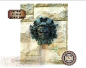 """Green Man JPG Fountain Printable ~ Aged Bronze Statue ~ 8.5X11"""" Verdigris Bacchus, Pan, Dionysus, God of Wine, Horned Nymph, God of the Wild"""