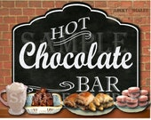 "Hot Chocolate Bar Printable Buffet Sign ~ 20X25"" PDF ~ Chalkboard Art Style Christmas Fall Winter Wedding Buffet New Year's Eve Party Decor"