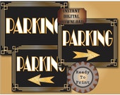 Parking Directional Signs Set of 3 Printable Roaring 20s Prohibition Era Art Deco Gatsby Party Gold Black White Wedding Illuminate Sign