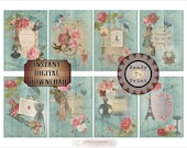 "8 Aged Ephemera Printable ATC ACEO Digital 2.5X3.5"" Cards ~ French Victorian Scrap, Aqua Barn Wood, Roses ~ Price Hang Tags, Jewelry Display"